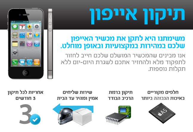 החלפת מסך לאייפון 4 מחיר